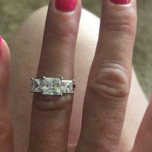 3 stone square cut diamonique stones ring